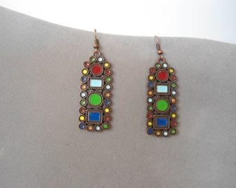Bohemian Earrings Copper Gypsy Sundance Style Boho Jewelry Hippie Earrings Indie Earrings