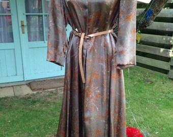 50's Autumn leaves satin swirl dress