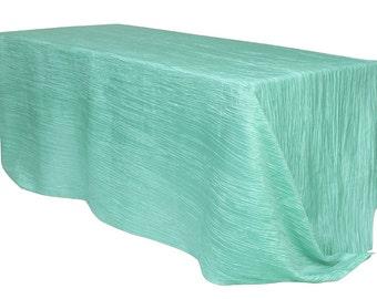YourChairCovers   90 X 156 Inch Robin Egg Crinkle Taffeta Rectangle  Tablecloth   Wedding Tablecloth