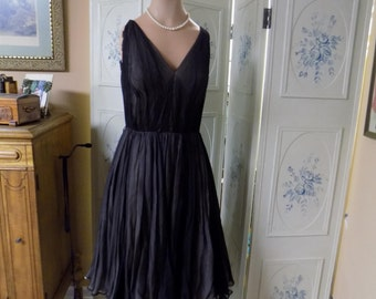 1950's Swing Dress, Black with Beige Underskirt, Pleated by Estevez