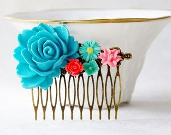 Blue Rose Hair Clip / Turquoise Hair Piece  / Something Blue Flower Hair Clip / Wedding Hair Comb / Woodland Fascinator / Wedding Hair Piece