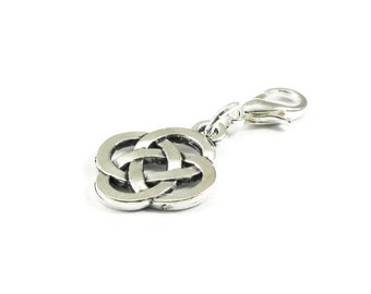 Celtic Knot Zipper Pull Purse Charm Silver Clip On Charms