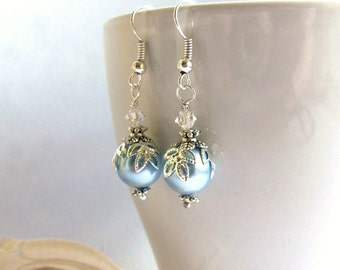 Blue Swarovski pearl and crystal drop earrings, sterling silver earrings, pearl earrings, Swarovski Elements, gift for her, surgical steel