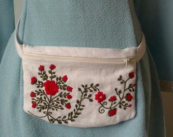 Linen hand embroidered fanny pack / waist bag / hip bag / festival bag / bum bag / belt bag / pouch