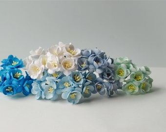 Paper flower, 50 pcs., cherry blossom size 2.5 cm., mixed blue color, Handmade.