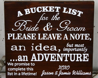 Original Design BUCKET LIST for the Bride and Groom Rustic Wedding Signs 16x19