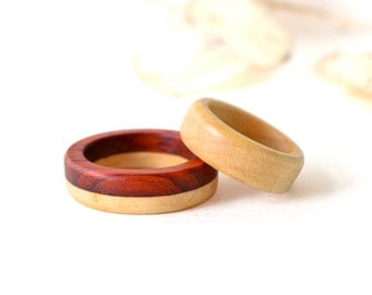 Wood Rings Set, Wooden Bands, Natural Wood Ring, His And Her Rings, Natural Rings, Wooden Jewelry, Natural Jewelry, Gift For Her