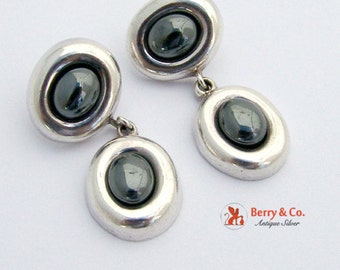 Modernist Oval Dangle Earrings Sterling Silver Hematite