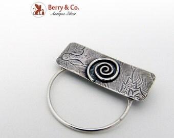 Designer Arts And Crafts Brooch Sterling Silver 1930