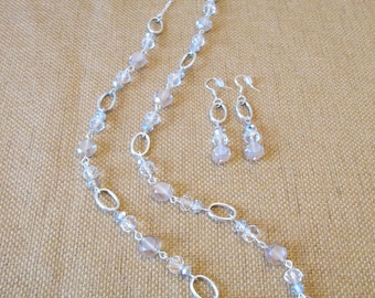 Sterling Silver Swarovski Crystal Necklace and Earrings Set by The Darling Duck