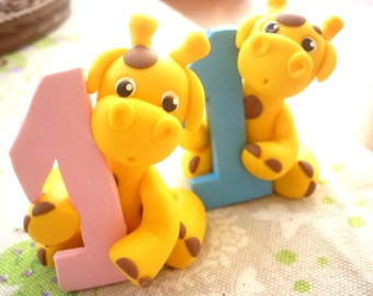 First Birthday cake topper - Giraffe cake topper handmade with polymer clay - baby shower gift