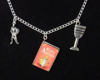 King Arthur Book Necklace - Version 1
