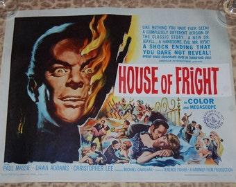 House Of Fright Hammer Horror Christopher Lee 1960 Original Movie Half Sheet Movie Poster