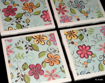 Floral Coasters, Tile Coasters, Drink Coasters, Table Coasters, Coasters for Drinks, Ceramic Coasters, Flower Coasters, Coaster Set of 4