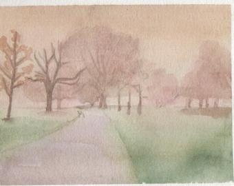 Misty Clissold Park, watercolour painting