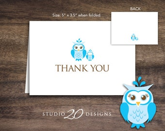 Instant Download Blue Owl Thank You Card, Folded Blue Brown Owl Baby Shower Thank You Card for Boy, Folded Owl Birthday Thank You Card 23F