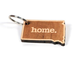 South Dakota Key Charm by Home State Apparel: Laser Engraved Wood Keychain, SD