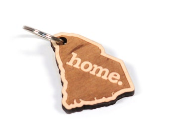 South Carolina Key Charm by Home State Apparel: Laser Engraved Wood Keychain, SC