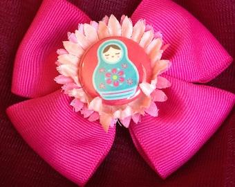 Pink Matryoshka Hair Bow Clip