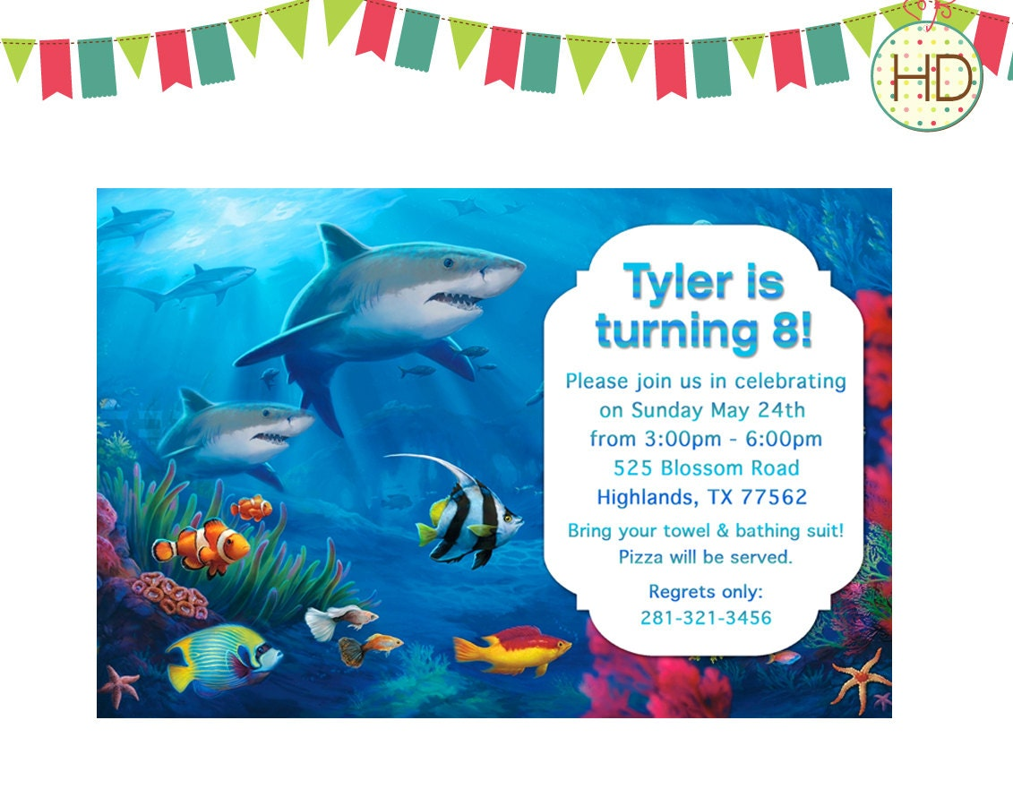 Shark Party Invitations with beautiful invitation template