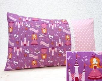 "Handmade 20""x12"" Cotton Cushion Lumbar Pillow Cover in Pink/White Fairy/Princess/Castles/Stars Design Print"