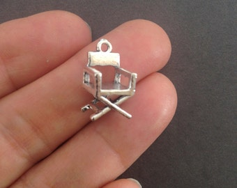 6 cinema director chair 3D charms antique silver , 17mm # CH 563