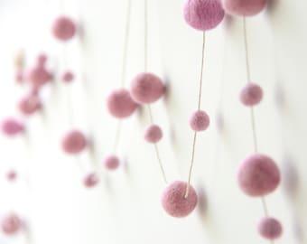 Felt Ball Garland Pink. Pink Wedding Decor. Party Decorations.Kids Room Nursery Decor.Pink Decor.Pink Garland. Pastel.