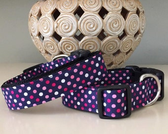 Dog Collar - Blue w Pinks Polka Dots
