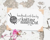 Knitting Rubber Stamp - Custom Made By Stamp, Knitting Needles Stamp, Yarn Stamp, Crafters Stamp, Knitted by Labels- 10200