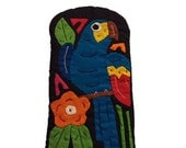 Quilted Eye Glass Case- Blue Toucan Bird- Handmade in Panama