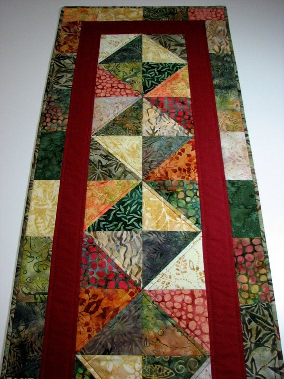 Quilted Table Runner Autumn Tones Cotton Batiks