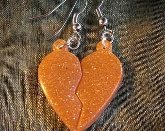 Resin Broken Heart Earrings- Surgical Steel Resin Jewelry by Apricity Jewelry