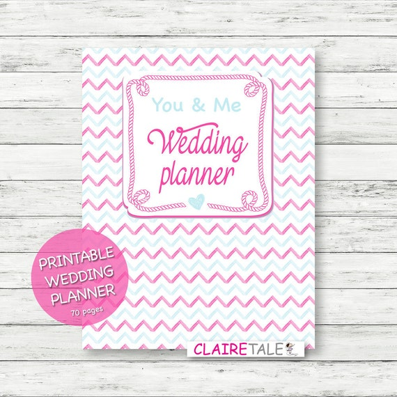 Printable Wedding Planner: Printable Wedding Planner On Pink And Blue Chevrons By