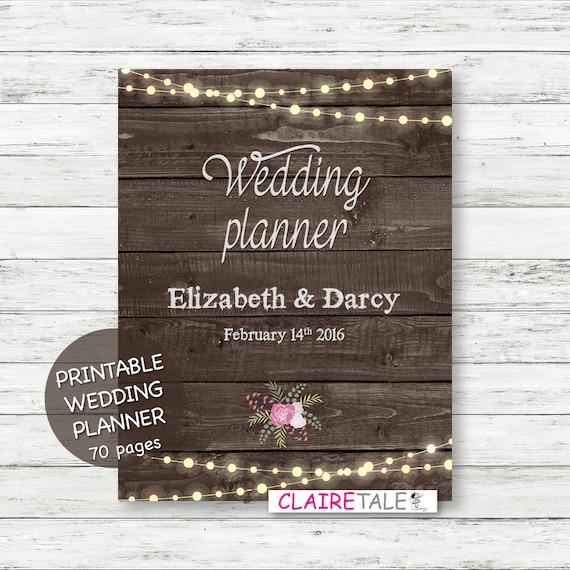Printable Wedding Planner Binder Planning A Rustic: Printable Wedding Planner On Rustic Wood Background By