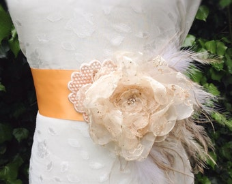 Bridal sash belt, bridal belt, wedding dress belt, sash belt, flower belt, tie up belt, wedding belt, bridal dress sash,