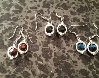 Large Lantern Style Earrings - Silver Tone