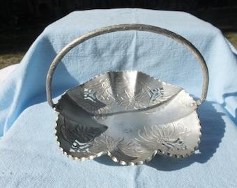 Vintage Hammered Aluminum Bowl with Basket Handle