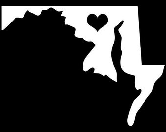 """Maryland MD State Love w/ Heart 5"""" Vinyl Decal Widow Sticker for Car, Truck, Motorcycle, Laptop, Ipad, Window, Wall, ETC"""