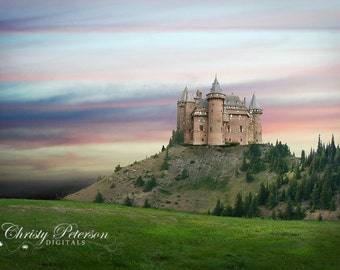 Castle on Hill Digital Background for Whimsical, Princess and Knight Photography Sessions