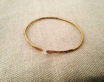 Open Hammered Brass Bangle