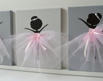 Dancing Ballerinas Wall Decor. Nursery wall art in Pink and Grey.