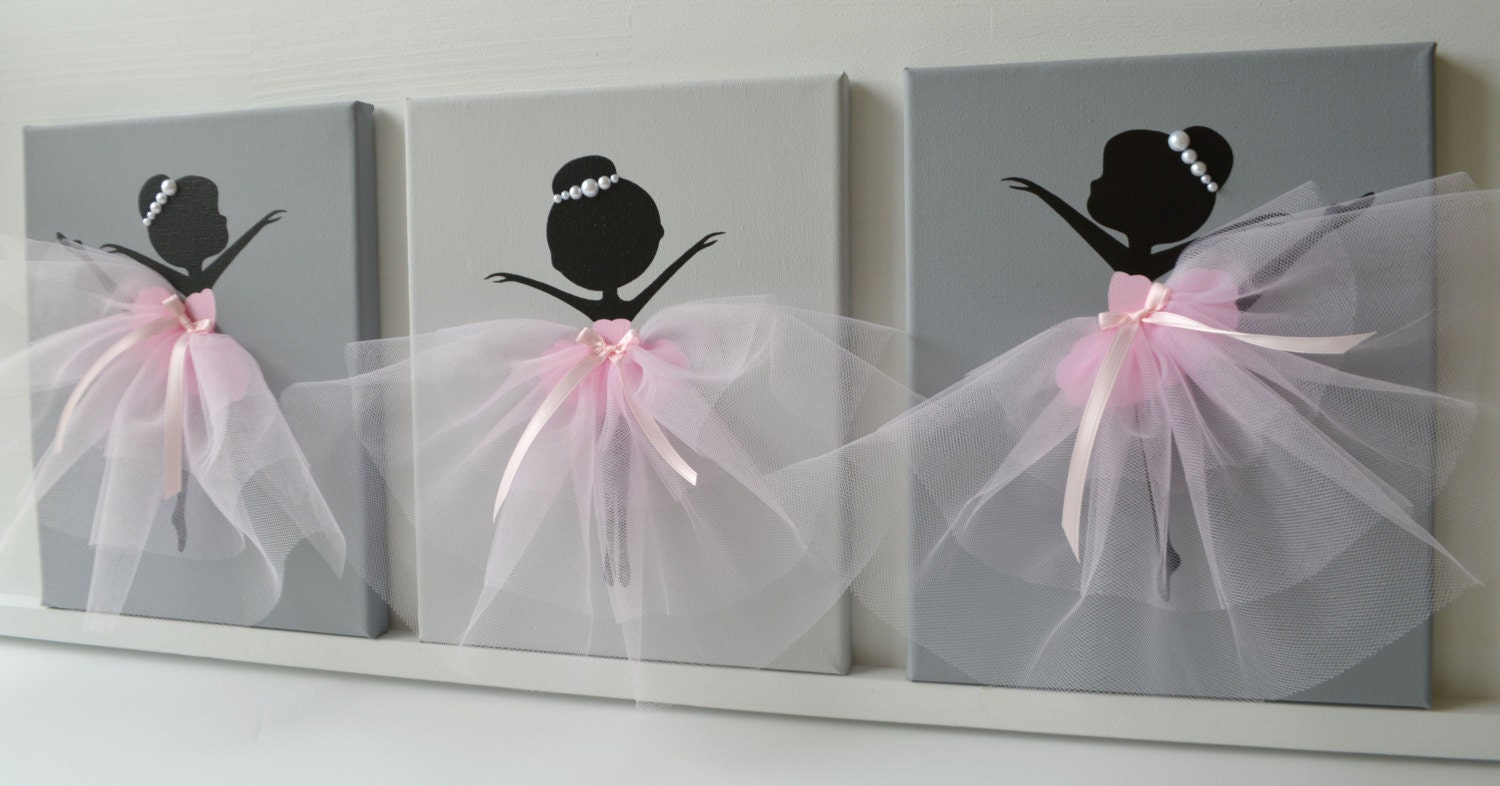 Dancing Ballerinas Wall Decor Nursery Wall Art In Pink And Grey