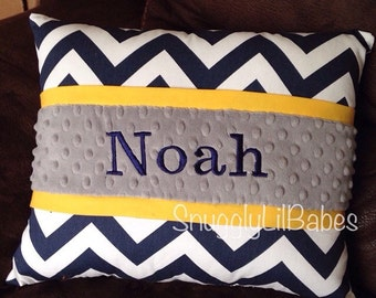 Navy chevron, yellow, grey minky dot personalized pillow