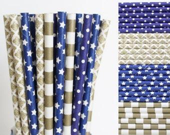 Navy Blue and Gold Paper Straw Mix-Navy Blue Polka Dot Straws-Horizontal Rugby Striped Straws-Star Straws-Gold Damask Straws-Wedding Straws