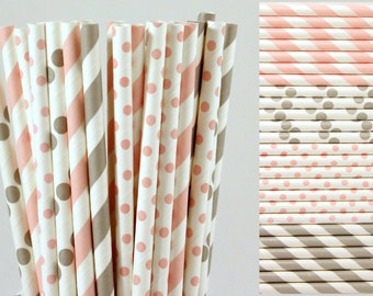 Pink and Grey Paper Straw Mix-Light Pink Straws-Gray Straws-Striped Straws-Polka Dot Straws-Wedding Straws-Shower Straws-Party Straws