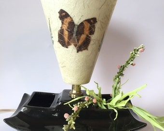 Mid Century Oriental Lamp With Fiberglass Shade