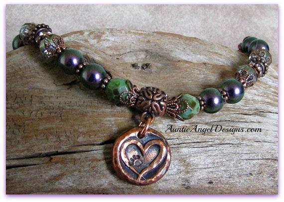 Cat Memorial Keepsake Bracelet; Cat Lover Sympathy Jewelry; Paw Prints on my Heart Gift; Pet Memorial Jewelry, Copper Paw Print Bracelet