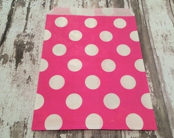 25 Hot Pink Polka Dot Paper Candy Bags, Unlined, Medium Bags.  Favor Bags, Party, Wedding, Shower, Candy, Baked Goods
