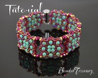 CONSTELLATION Beading tutorial Beaded bracelet pattern with Rulla Fire polished Seed beads Beadwoven turquoise garnet bracelet TUTORIAL ONLY