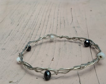 Wire Bangle with Black and White Beads